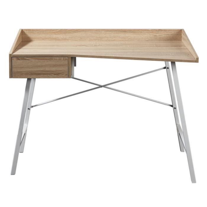 Volma bureau 113 cm d cor ch ne clair et blanc achat for Bureau blanc et bois clair