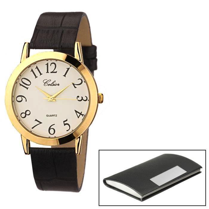 celsior montre et porte carte homme noir classique achat vente montre bracelet cdiscount. Black Bedroom Furniture Sets. Home Design Ideas