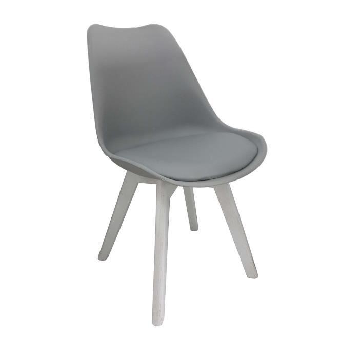 bjorn chaise coque pvc gris pieds bois blanc achat vente chaise pvc bois soldes d t. Black Bedroom Furniture Sets. Home Design Ideas