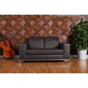 lounge canap fixe droit cuir et simili 2 places 168x108x98 cm marron achat vente canap. Black Bedroom Furniture Sets. Home Design Ideas