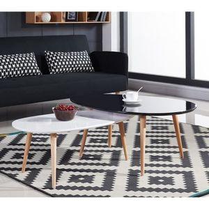 TABLE BASSE STONE Table basse scandinave 98x61 cm laquée Noir