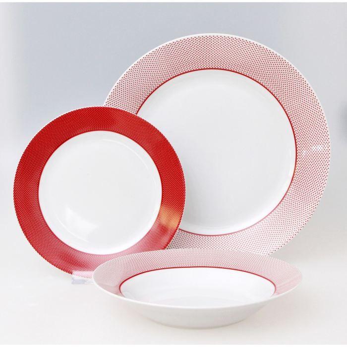 Service porcelaine 18 pi ces myriade rouge achat vente - Service de table rouge ...