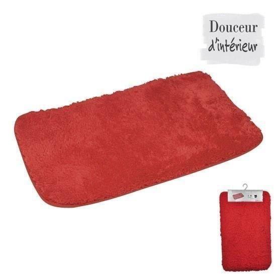 Tapis de bain 100 coton 45x75 xm rouge achat vente for Tapis salle de bain rouge
