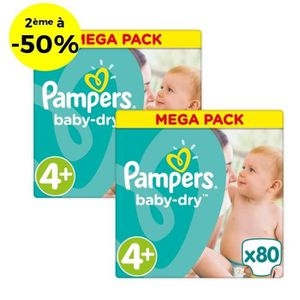 COUCHE PAMPERS Baby Dry Taille 4+ - 160 couches - Lot de