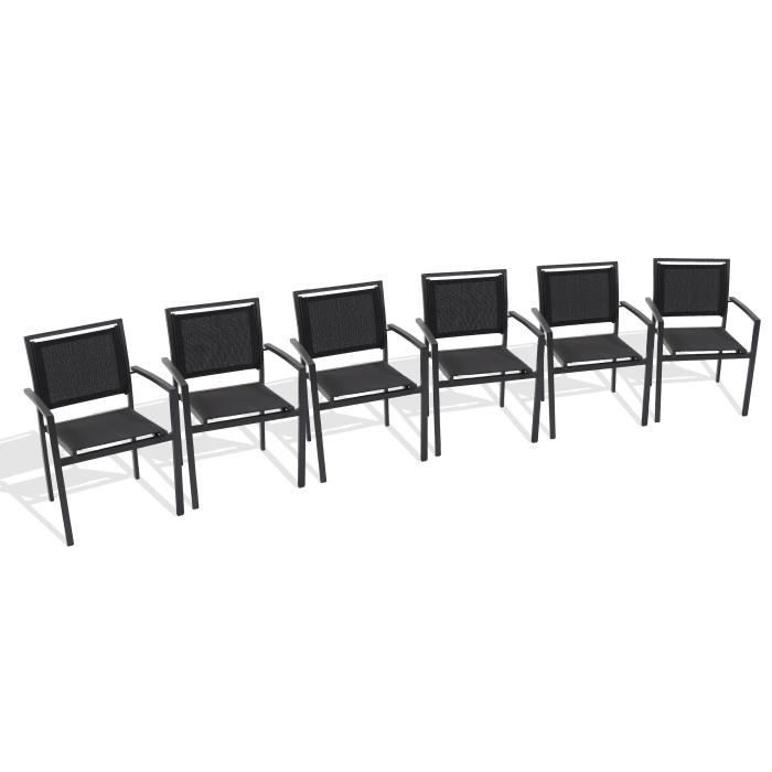 Lot de 6 fauteuils de jardin aluminium et textil ne noir for Chaise de jardin aluminium et textilene