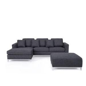 Canapé d'angle cuir design convertible gauche MICHIGAN noir  cuir de vache