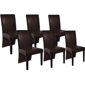 CHAISE Chaise design bois marron (lot de 6)