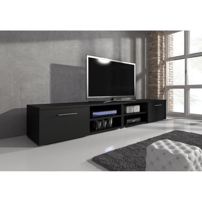 reno meuble tv contemporain d cor noir mat 240 cm. Black Bedroom Furniture Sets. Home Design Ideas