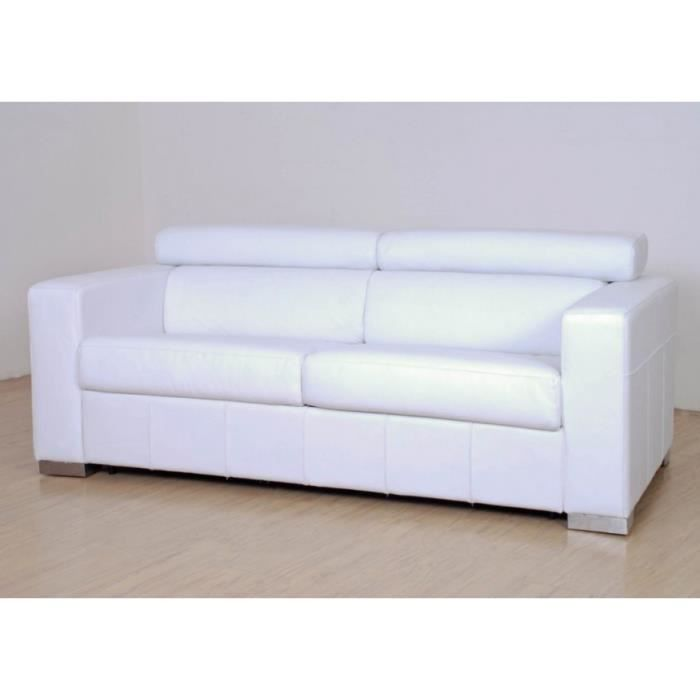 Canap convertible malino cuir blanc achat vente for Achat canape convertible