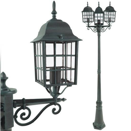 lampadaire d 39 ext rieur verte 3 lanternes achat vente lampadaire d 39 ext rieur vert fonte. Black Bedroom Furniture Sets. Home Design Ideas