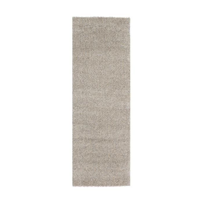 Tapis de salon shaggy lahti beige gris 80x300 cm achat - Tapis shaggy beige ...