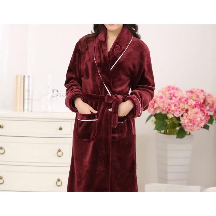 peignoir polaire femme bordeaux avec liser et motif sur le col ch le achat vente peignoir. Black Bedroom Furniture Sets. Home Design Ideas