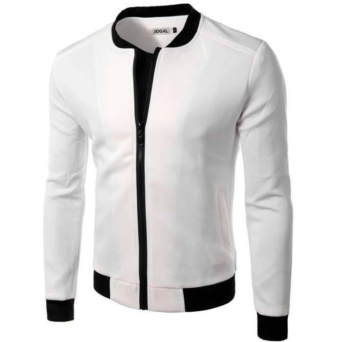blouson bombers homme mode noir blanc veste sweat sport homme blanc achat vente blouson. Black Bedroom Furniture Sets. Home Design Ideas