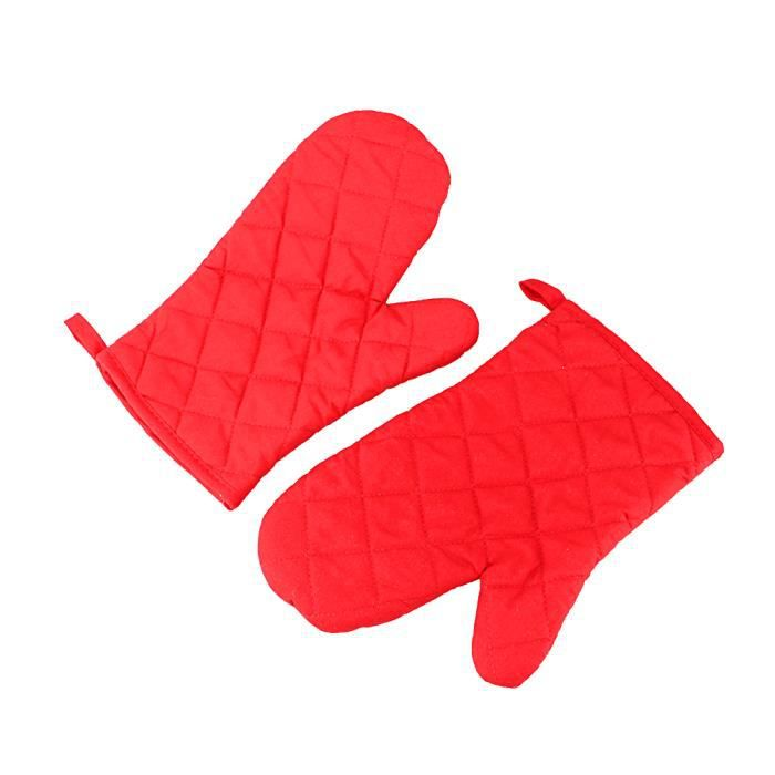 1pair gant de cuisine anti chaleur en coton gant de cuisson four manicle four isolation - Gant de cuisine anti chaleur ...