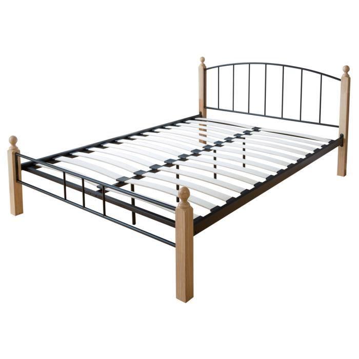 lit design en m tal coloris noir et naturel 180 x 200 cm. Black Bedroom Furniture Sets. Home Design Ideas