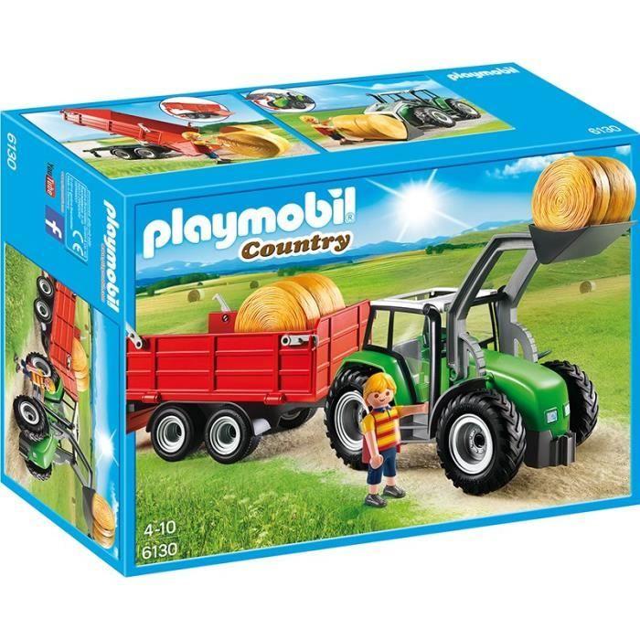 univers miniature playmobil 6130 tracteur avec pelle et remorque
