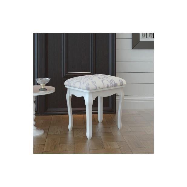 superbe tabouret pouf pour coiffeuse en bois blanc achat vente tabouret blanc cdiscount. Black Bedroom Furniture Sets. Home Design Ideas