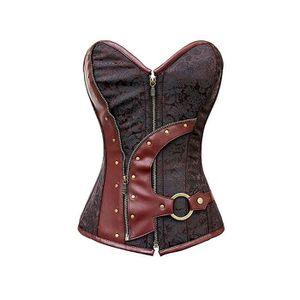 corset marron en simili cuir et satin marron achat vente bustier corset 2009950519301. Black Bedroom Furniture Sets. Home Design Ideas