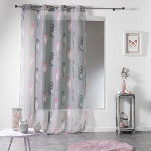 rideau gris et rose achat vente rideau gris et rose pas cher cdiscount. Black Bedroom Furniture Sets. Home Design Ideas