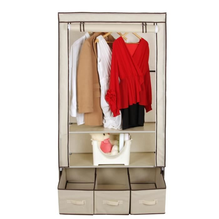 meuble penderie garde robe etagere pour chaussures vetements 160 x 88 x 50cm beige achat. Black Bedroom Furniture Sets. Home Design Ideas