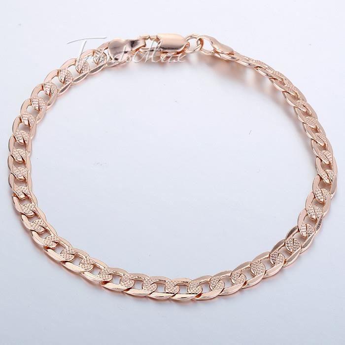 bracelet homme en plaqu or rose achat vente bracelet. Black Bedroom Furniture Sets. Home Design Ideas