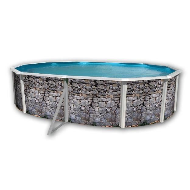 pierre grise piscine en acier ovale 550x366x120 achat