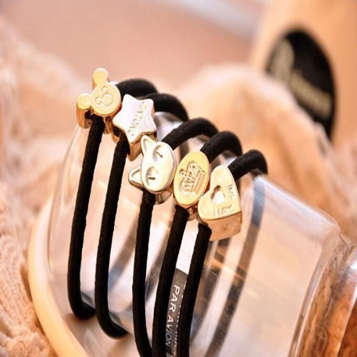 anneau extensible pour cheveux lastique cheveux noir avec bijou d coratif accessoire cheveux. Black Bedroom Furniture Sets. Home Design Ideas