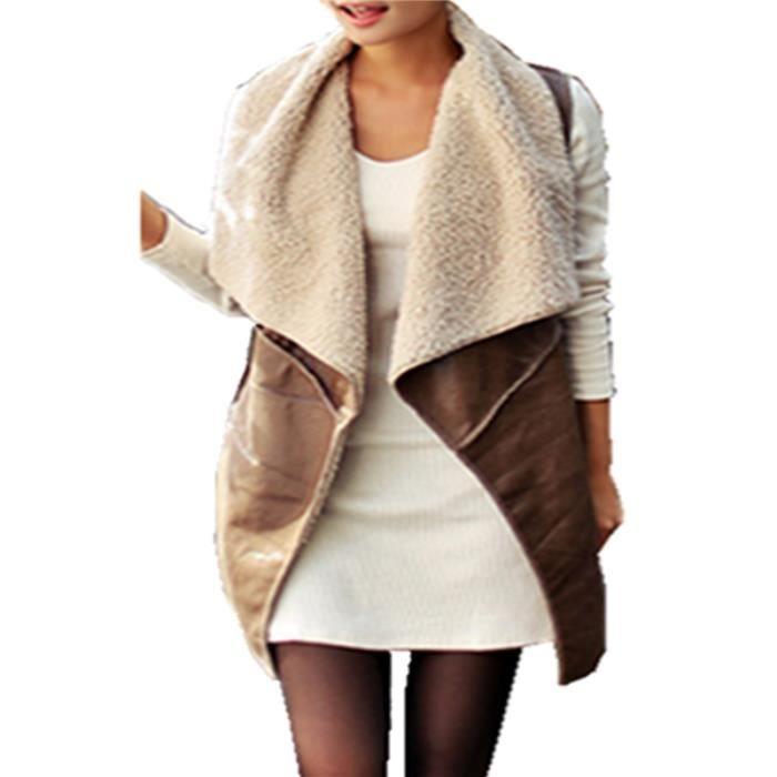 zanzea gilet longue chaud mode femme hiver faux cuir sans manche noir achat vente gilet. Black Bedroom Furniture Sets. Home Design Ideas