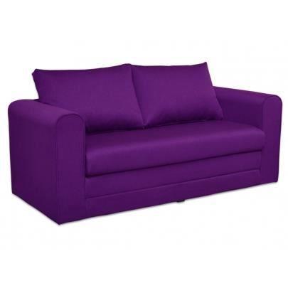Canap 2 places convertible en tissu danube violet for Canape 2 places