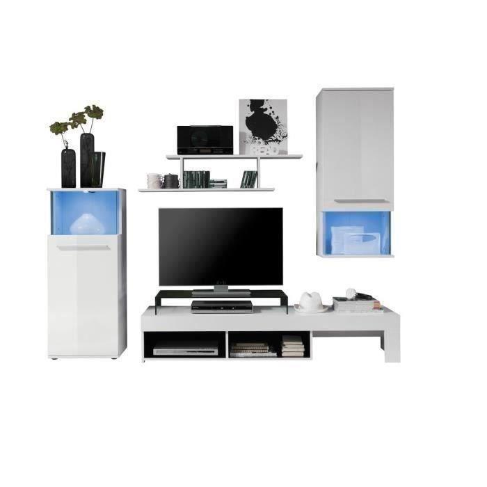 punch meuble tv mural 228cm coloris blanc mat et brillant led couleur changeante achat. Black Bedroom Furniture Sets. Home Design Ideas