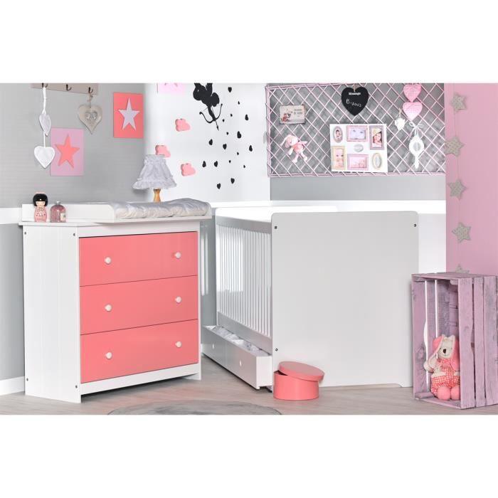 chambre b b volutive rose saumon et blanc grain d 39 orge. Black Bedroom Furniture Sets. Home Design Ideas