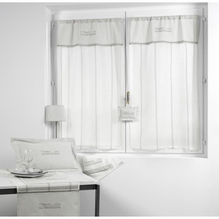 paire rideaux tamine brod 45x120 cm gris achat vente rideau coton lin cdiscount. Black Bedroom Furniture Sets. Home Design Ideas