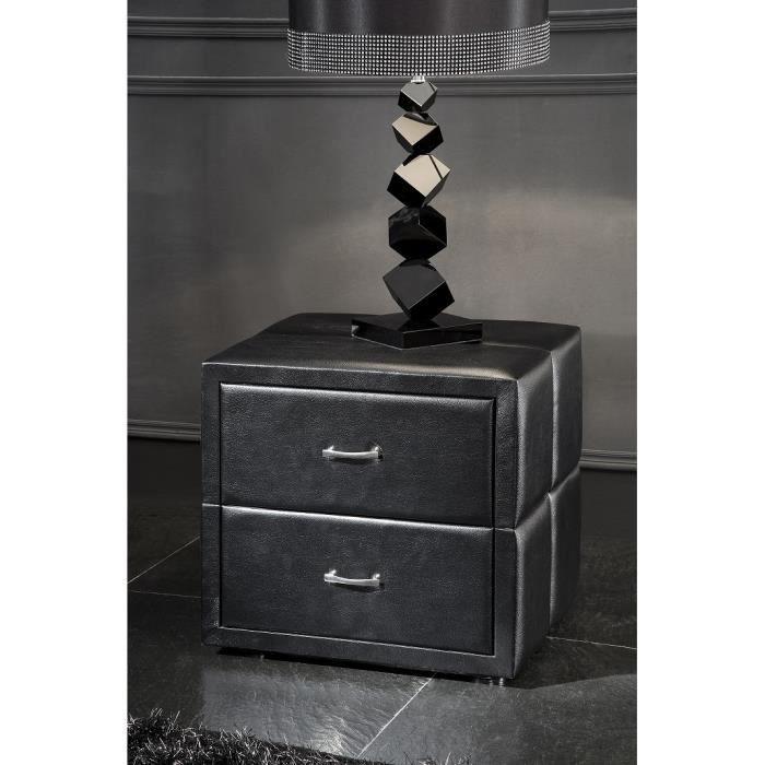 table de chevet adulte capitonn noir achat vente. Black Bedroom Furniture Sets. Home Design Ideas