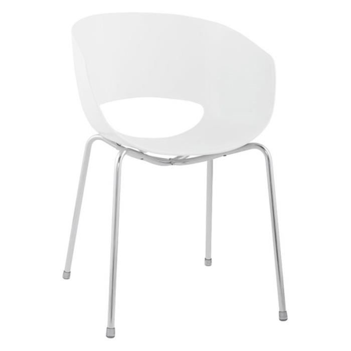 Lot 4 chaise design soft coque plastique blanc achat for Chaise design plastique