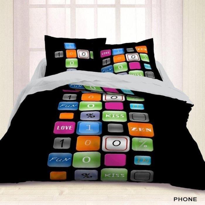 housse de couette 220x240 phone 2 taies achat vente housse de couette cdiscount. Black Bedroom Furniture Sets. Home Design Ideas