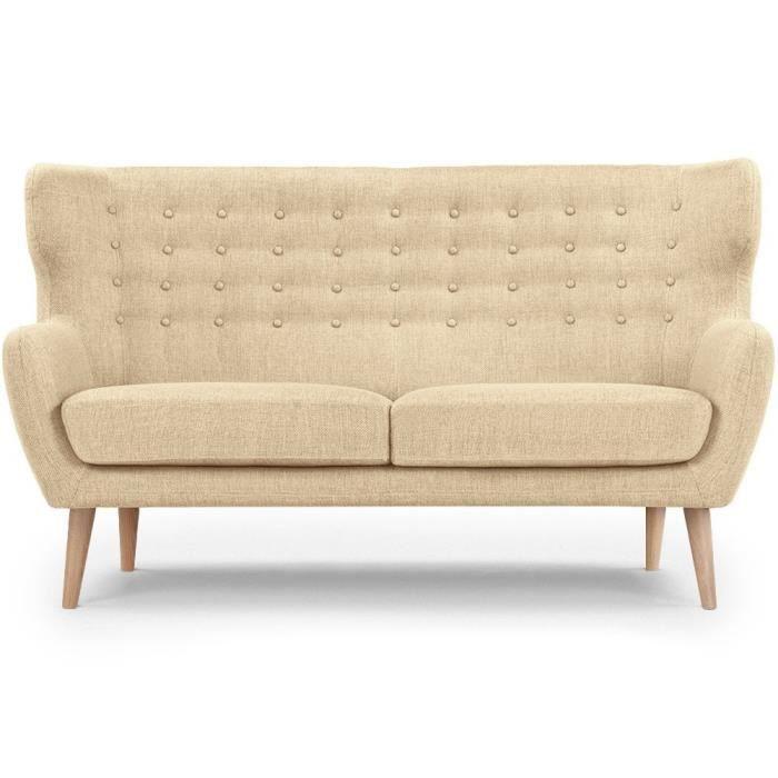 Canap fixe 3 places da vinci en tissu beige achat vente canap sofa - Canape fixe 3 places tissu ...