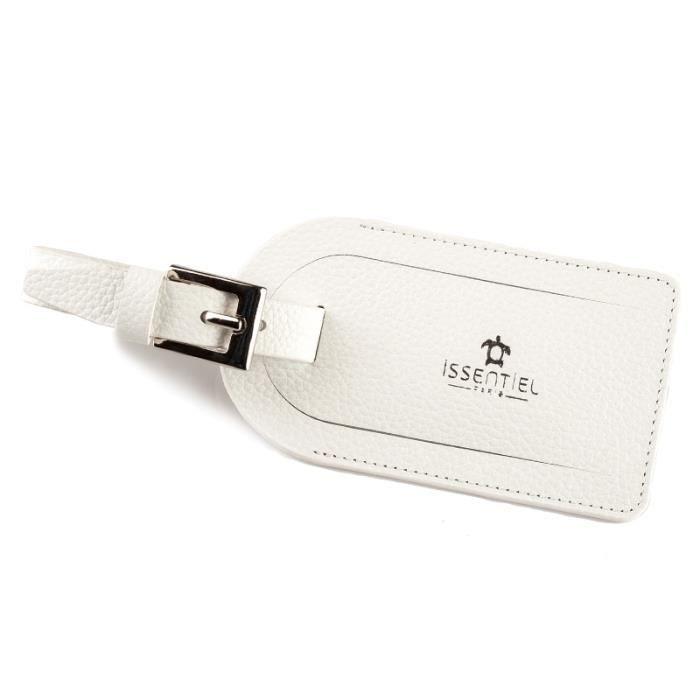 Porte tiquette de bagage en cuir couleur bla blanc for 1 porte etiquette de voyage