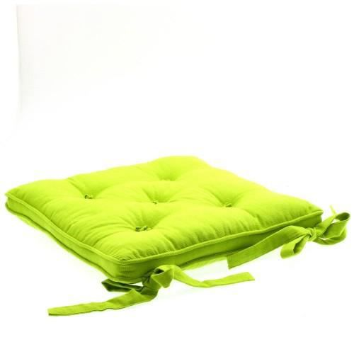 Galette chaise 5 boutons vert anis achat vente coussin for Housse de coussin vert anis