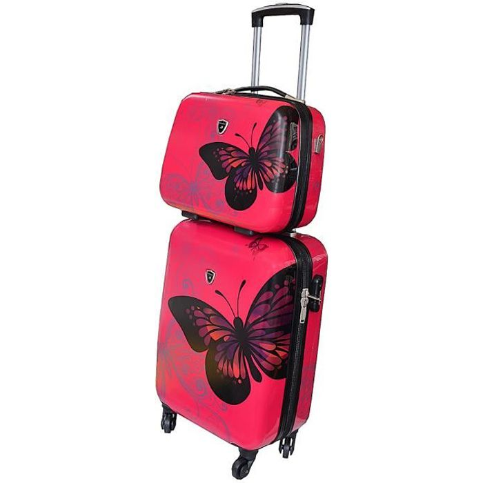 valise cabine rose avec son vanity assorti motif papillon achat vente valise bagage. Black Bedroom Furniture Sets. Home Design Ideas
