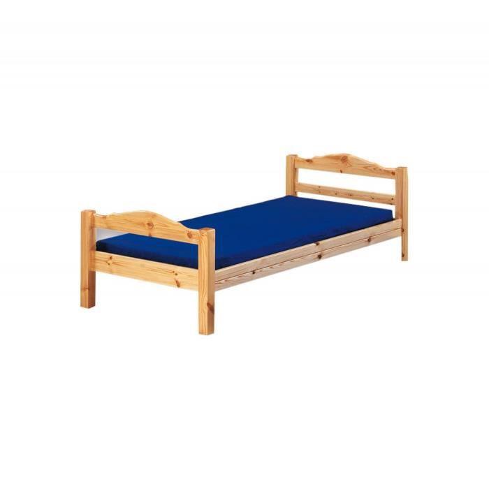 lit en pin massif vernis naturel jupiter 160x200 achat vente structure de lit lit en pin. Black Bedroom Furniture Sets. Home Design Ideas