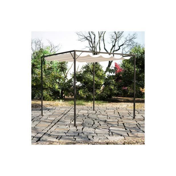 Superbe tonnelle de jardin en acier avec auvent for Auvent de jardin