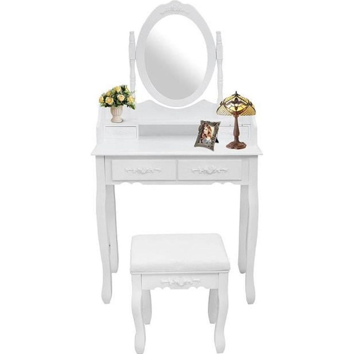 Table de maquillage coiffeuse 2 tiroirs avec miroir et for Meuble coiffeuse avec miroir conforama