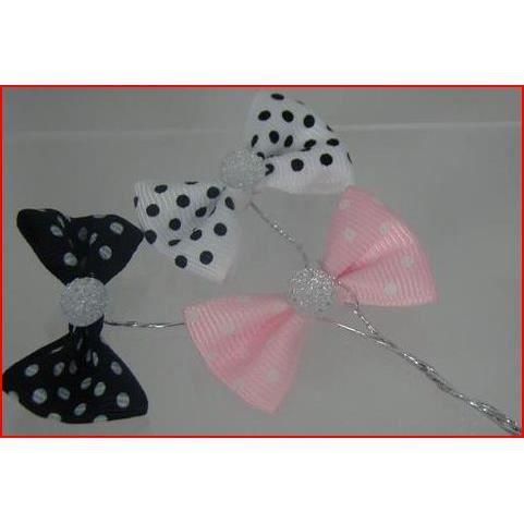 10 noeuds papillon plumetis diamant sur tige achat. Black Bedroom Furniture Sets. Home Design Ideas