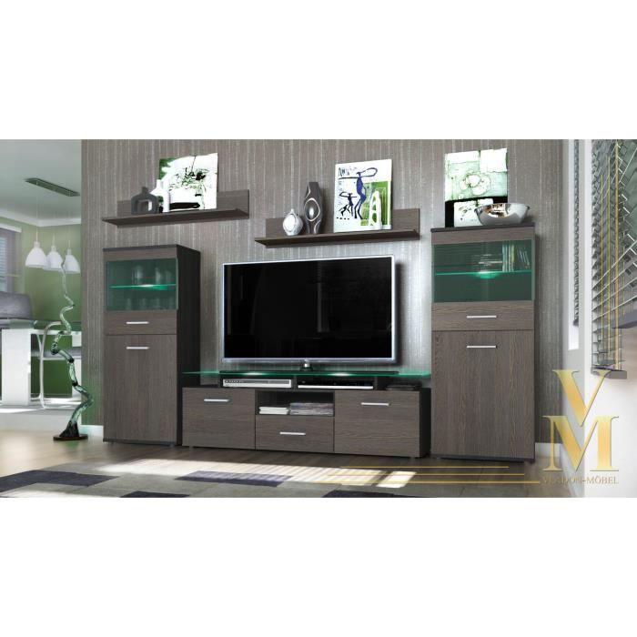 ensemble 5 meubles tv noir bois weng 146cm achat vente meuble tv ensemble 5 meubles tv noir. Black Bedroom Furniture Sets. Home Design Ideas