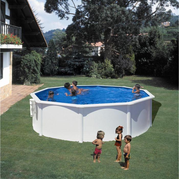 Gre piscine ronde bora bora 300 cm h 120 cm blanc for Piscine acier enterree