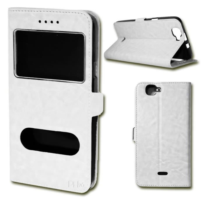 Etui coque housse blanc pour wiko lenny 3 4g by ph26 for Wiko lenny 3 housse