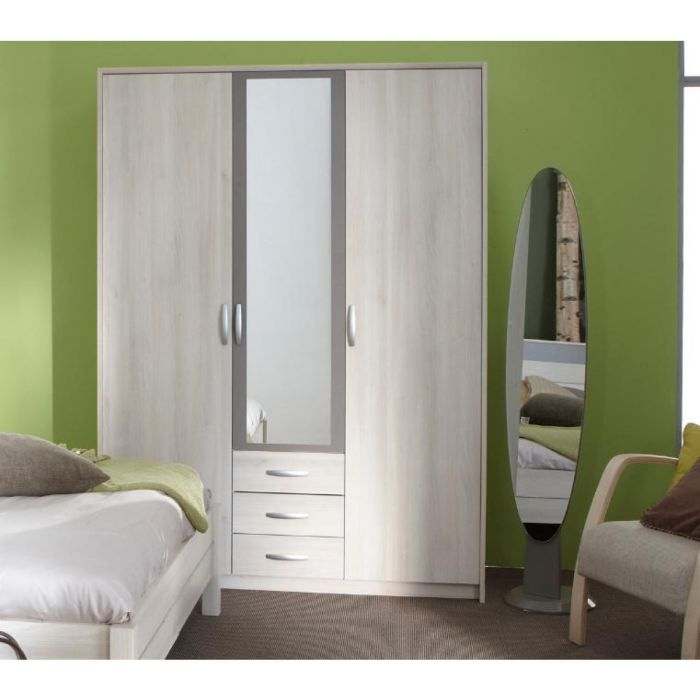 Armoire 2 1 portes miroir silvia acacia basalte achat vente armoire de ch - Armoire penderie 1 porte ...