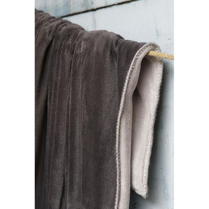 plaid polaire basiques perle carbone 150x200 sylvie thiriez achat vente couverture plaid. Black Bedroom Furniture Sets. Home Design Ideas