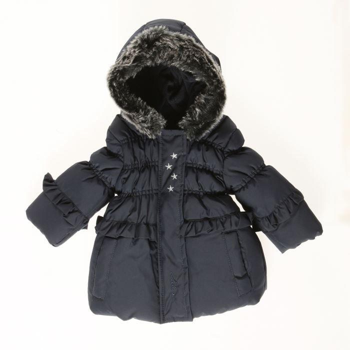miniman manteau capuche b b fille bleu marine achat vente manteau caban miniman manteau. Black Bedroom Furniture Sets. Home Design Ideas