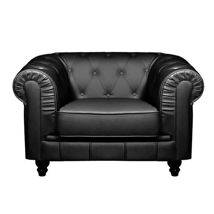 Fauteuil noir chesterfield achat vente fauteuil simili cdiscount - Fauteuil chesterfield noir ...